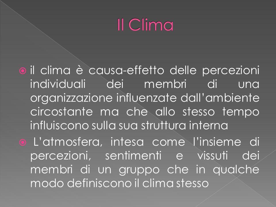  il clima è causa-effetto delle percezioni individuali dei membri di una organizzazione influenzate dall'ambiente circostante ma che allo stesso tempo influiscono sulla sua struttura interna  L'atmosfera, intesa come l'insieme di percezioni, sentimenti e vissuti dei membri di un gruppo che in qualche modo definiscono il clima stesso