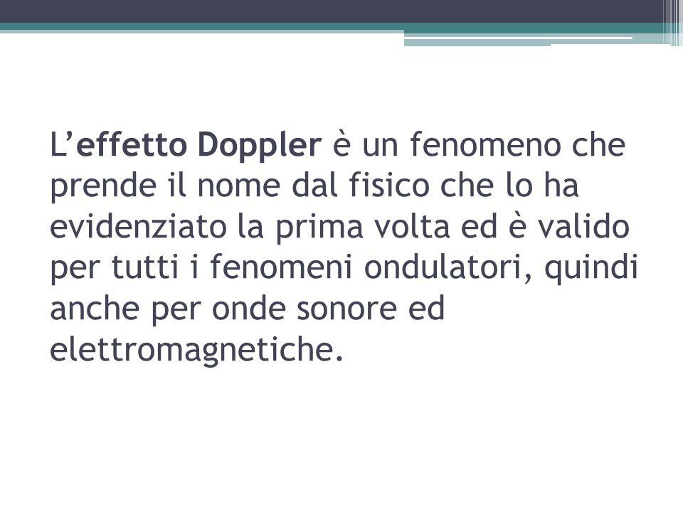L'effetto Doppler è un fenomeno che prende il nome dal fisico che lo ha evidenziato la prima volta ed è valido per tutti i fenomeni ondulatori, quindi