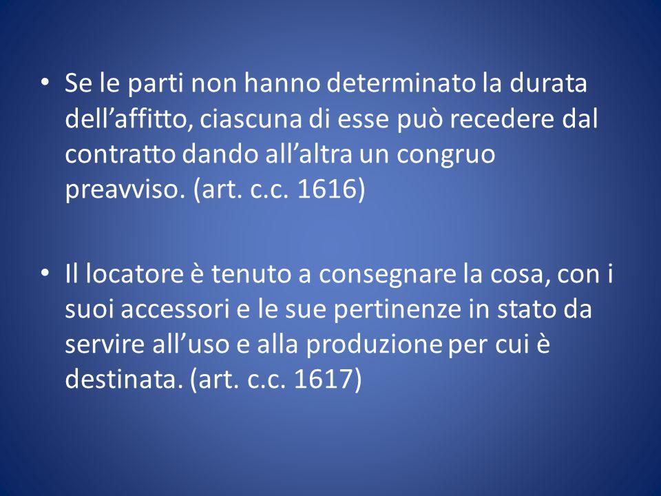 Se le parti non hanno determinato la durata dell'affitto, ciascuna di esse può recedere dal contratto dando all'altra un congruo preavviso. (art. c.c.