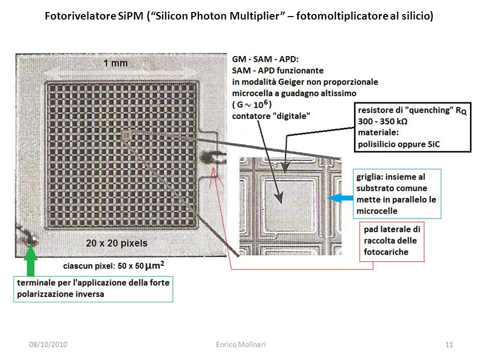 Fotorivelatore SiPM ( Silicon Photon Multiplier – fotomoltiplicatore al silicio) 08/10/201011Enrico Molinari