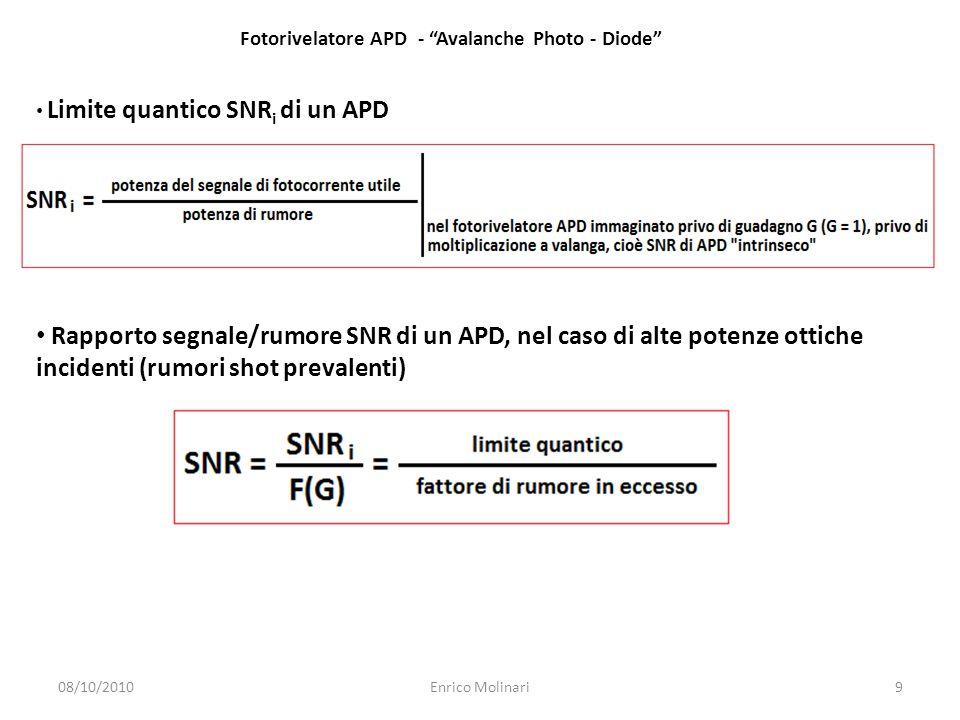 Limite quantico SNR i di un APD Rapporto segnale/rumore SNR di un APD, nel caso di alte potenze ottiche incidenti (rumori shot prevalenti) Fotorivelatore APD - Avalanche Photo - Diode 08/10/20109Enrico Molinari