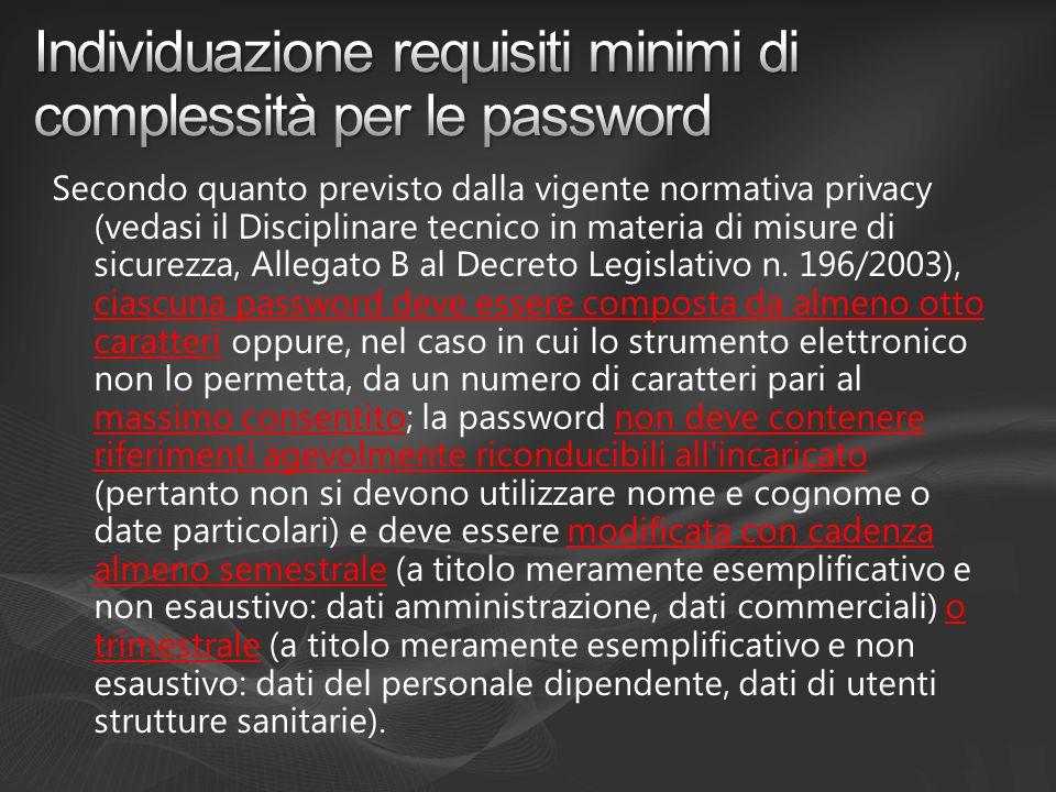 Secondo quanto previsto dalla vigente normativa privacy (vedasi il Disciplinare tecnico in materia di misure di sicurezza, Allegato B al Decreto Legislativo n.