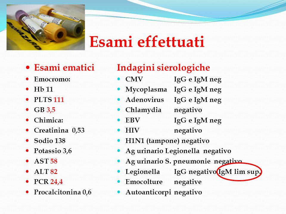 Esami effettuati Esami ematici Emocromo: Hb 11 PLTS 111 GB 3,5 Chimica: Creatinina 0,53 Sodio 138 Potassio 3,6 AST 58 ALT 82 PCR 24,4 Procalcitonina 0,6 Indagini sierologiche CMV IgG e IgM neg Mycoplasma IgG e IgM neg Adenovirus IgG e IgM neg Chlamydianegativo EBVIgG e IgM neg HIVnegativo H1N1 (tampone) negativo Ag urinario Legionella negativo Ag urinario S.