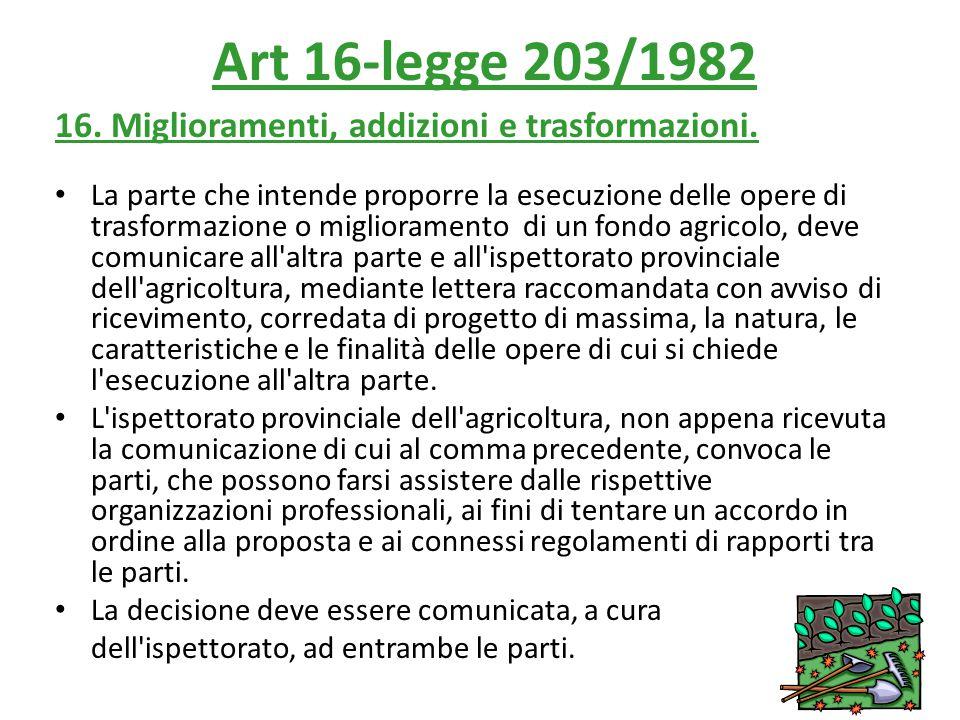Art 16-legge 203/1982 16. Miglioramenti, addizioni e trasformazioni.