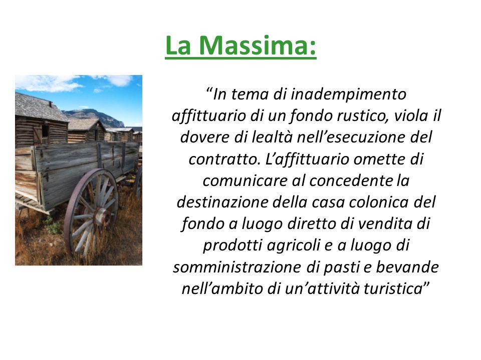 La Massima: In tema di inadempimento affittuario di un fondo rustico, viola il dovere di lealtà nell'esecuzione del contratto.