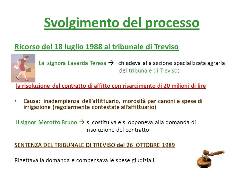 Svolgimento del processo Ricorso del 18 luglio 1988 al tribunale di Treviso La signora Lavarda Teresa  chiedeva alla sezione specializzata agraria del tribunale di Treviso: la risoluzione del contratto di affitto con risarcimento di 20 milioni di lire Causa: inadempienza dell'affittuario, morosità per canoni e spese di irrigazione (regolarmente contestate all'affittuario) Il signor Merotto Bruno  si costituiva e si opponeva alla domanda di risoluzione del contratto SENTENZA DEL TRIBUNALE DI TREVISO del 26 OTTOBRE 1989 Rigettava la domanda e compensava le spese giudiziali.