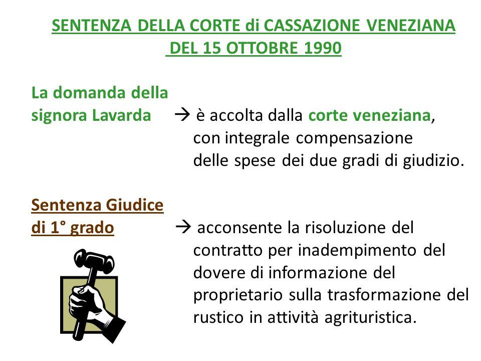 SENTENZA DELLA CORTE di CASSAZIONE VENEZIANA DEL 15 OTTOBRE 1990 La domanda della signora Lavarda  è accolta dalla corte veneziana, con integrale compensazione delle spese dei due gradi di giudizio.