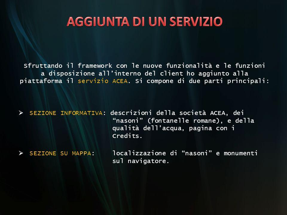 Sfruttando il framework con le nuove funzionalità e le funzioni a disposizione all'interno del client ho aggiunto alla piattaforma il servizio ACEA. S