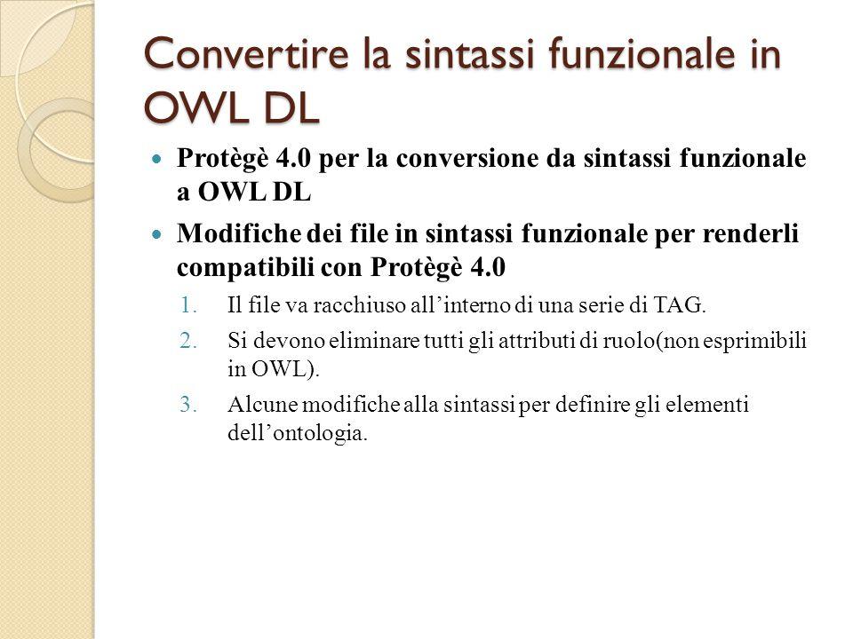 Convertire la sintassi funzionale in OWL DL Protègè 4.0 per la conversione da sintassi funzionale a OWL DL Modifiche dei file in sintassi funzionale per renderli compatibili con Protègè 4.0 1.Il file va racchiuso all'interno di una serie di TAG.