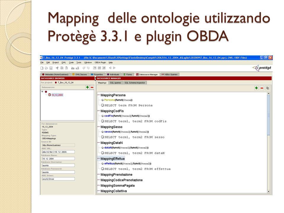 Mapping delle ontologie utilizzando Protègè 3.3.1 e plugin OBDA
