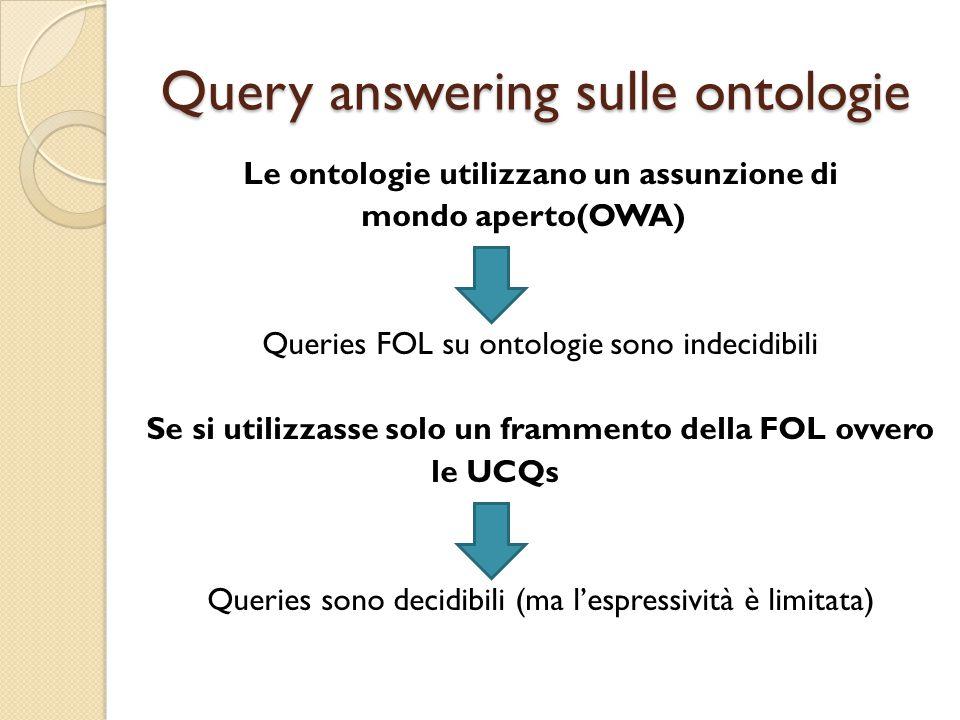Query answering sulle ontologie Le ontologie utilizzano un assunzione di mondo aperto(OWA) Queries FOL su ontologie sono indecidibili Se si utilizzasse solo un frammento della FOL ovvero le UCQs Queries sono decidibili (ma l'espressività è limitata)
