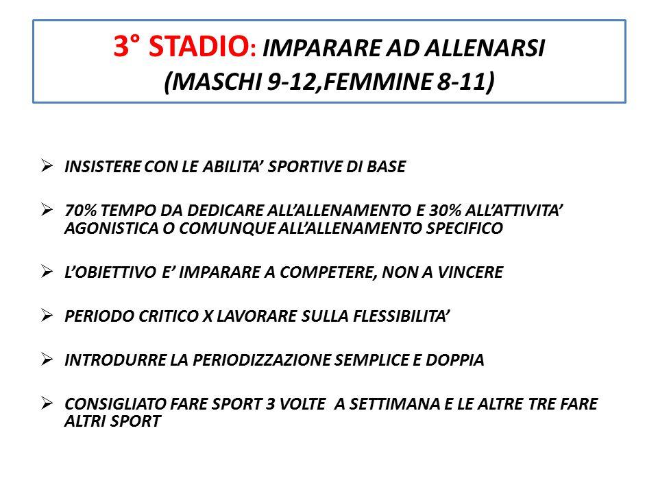 3° STADIO : IMPARARE AD ALLENARSI (MASCHI 9-12,FEMMINE 8-11)  INSISTERE CON LE ABILITA' SPORTIVE DI BASE  70% TEMPO DA DEDICARE ALL'ALLENAMENTO E 30
