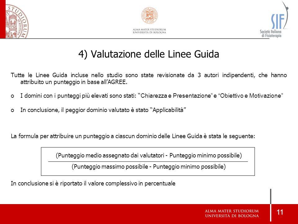 11 4) Valutazione delle Linee Guida Tutte le Linee Guida incluse nello studio sono state revisionate da 3 autori indipendenti, che hanno attribuito un