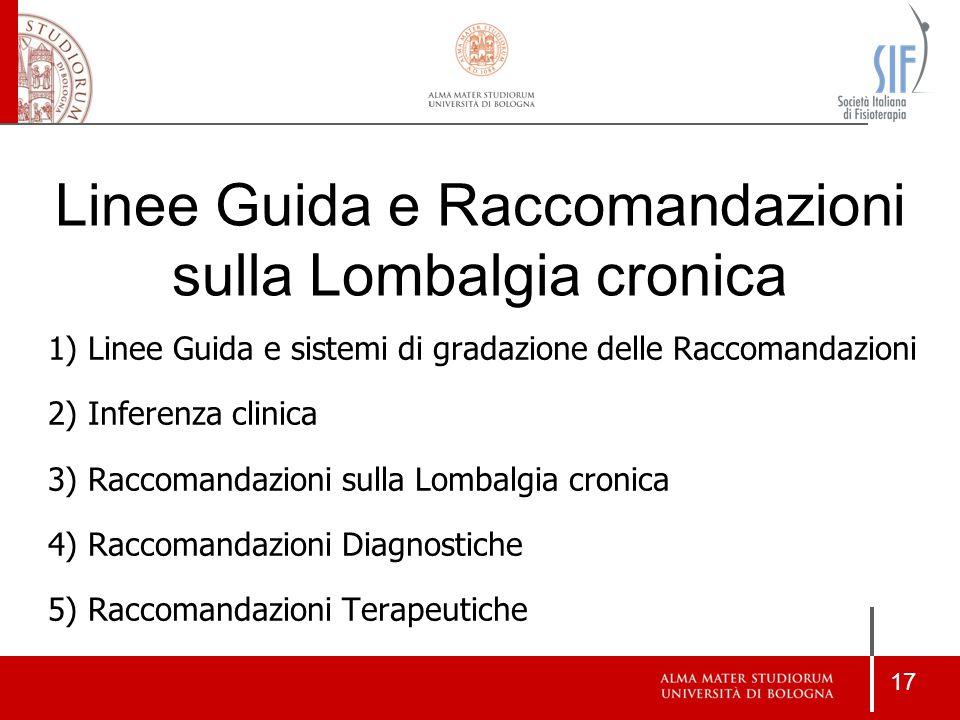 17 1)Linee Guida e sistemi di gradazione delle Raccomandazioni 2)Inferenza clinica 3)Raccomandazioni sulla Lombalgia cronica 4)Raccomandazioni Diagnos