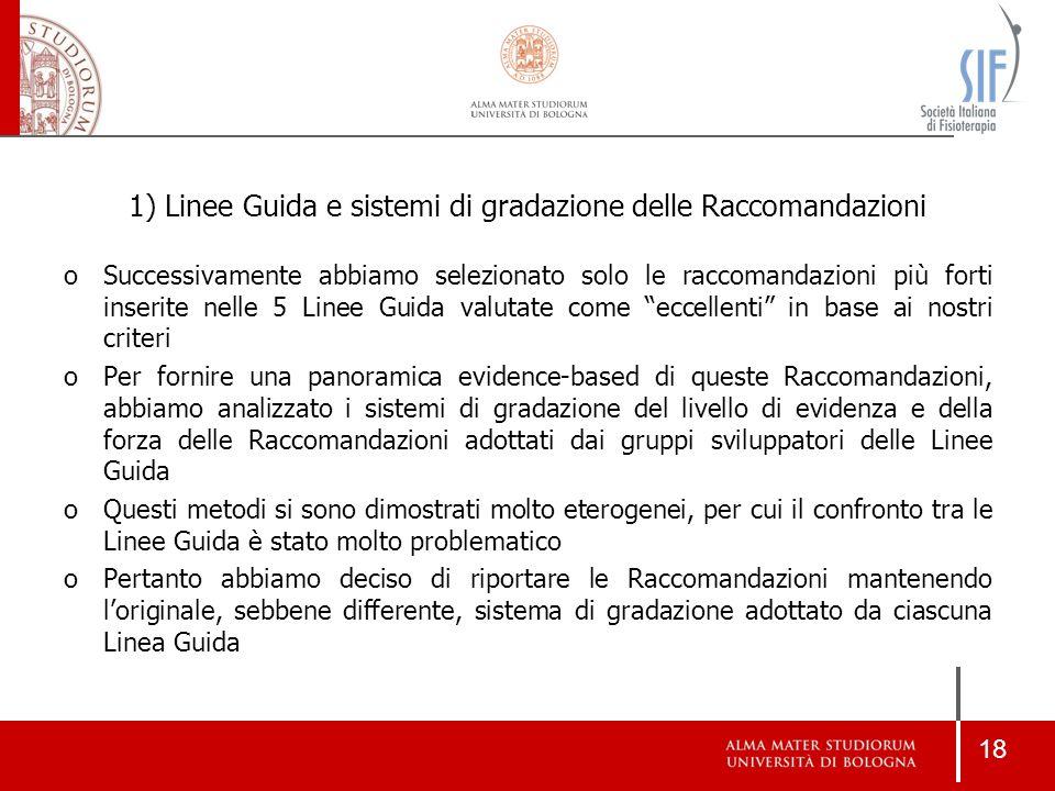 18 1) Linee Guida e sistemi di gradazione delle Raccomandazioni oSuccessivamente abbiamo selezionato solo le raccomandazioni più forti inserite nelle