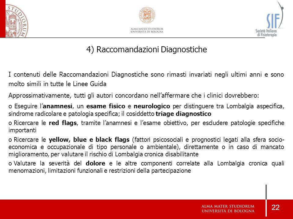 22 4) Raccomandazioni Diagnostiche I contenuti delle Raccomandazioni Diagnostiche sono rimasti invariati negli ultimi anni e sono molto simili in tutt