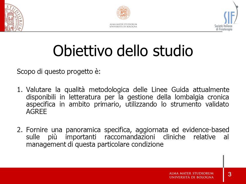 3 Scopo di questo progetto è: 1.Valutare la qualità metodologica delle Linee Guida attualmente disponibili in letteratura per la gestione della lombal
