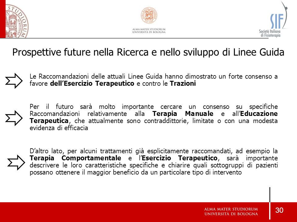 30 Prospettive future nella Ricerca e nello sviluppo di Linee Guida Le Raccomandazioni delle attuali Linee Guida hanno dimostrato un forte consenso a