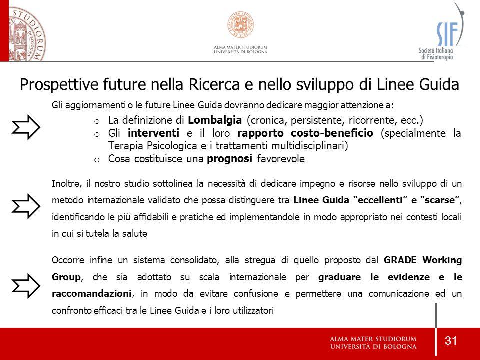 31 Gli aggiornamenti o le future Linee Guida dovranno dedicare maggior attenzione a: o La definizione di Lombalgia (cronica, persistente, ricorrente,