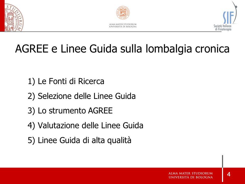 4 1) Le Fonti di Ricerca 2) Selezione delle Linee Guida 3) Lo strumento AGREE 4) Valutazione delle Linee Guida 5) Linee Guida di alta qualità AGREE e