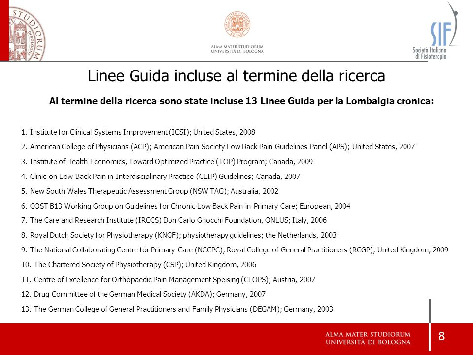 19 Linee GuidaLivelli di EvidenzaForza delle Raccomandazioni ACP, APS, United States, 2007 Good Fair Poor ABCDIABCDI TOP, Canada, 2009 Systematic review Randomized controlled trial Non-randomized trial Guideline Expert opinion Do Not Recommended Do Not Know KNGF, Netherland, 2003 Only evidence from systematic reviews and meta- analysis was considered Strong Moderate Limited or contradictory None NCCPC, RCGP, United Kingdom, 2009 1++ 1+ 1- 2++ 2+ 2- 34 No specific grading reported (recommendations based on GDG's weighting of the evidence and expert consensus).