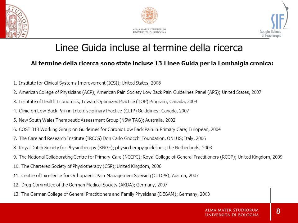 8 Linee Guida incluse al termine della ricerca Al termine della ricerca sono state incluse 13 Linee Guida per la Lombalgia cronica: 1. Institute for C