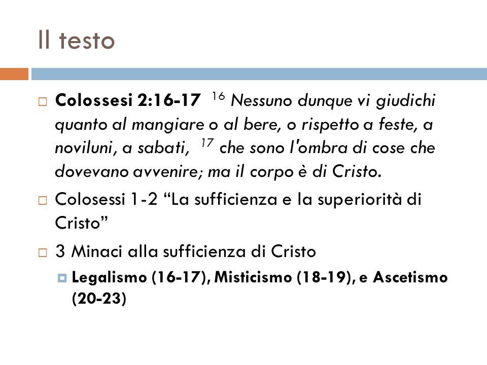 Il testo  Colossesi 2:16-17 16 Nessuno dunque vi giudichi quanto al mangiare o al bere, o rispetto a feste, a noviluni, a sabati, 17 che sono l'ombra