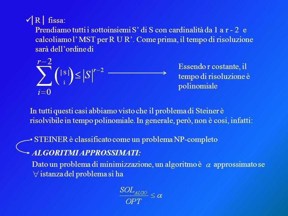 │R│ fissa: Prendiamo tutti i sottoinsiemi S' di S con cardinalità da 1 a r - 2 e calcoliamo l' MST per R U R'. Come prima, il tempo di risoluzione sar