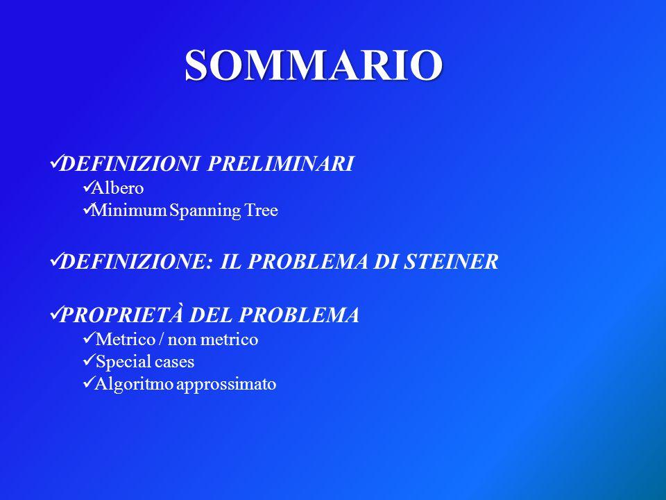 SOMMARIO DEFINIZIONI PRELIMINARI Albero Minimum Spanning Tree DEFINIZIONE: IL PROBLEMA DI STEINER PROPRIETÀ DEL PROBLEMA Metrico / non metrico Special