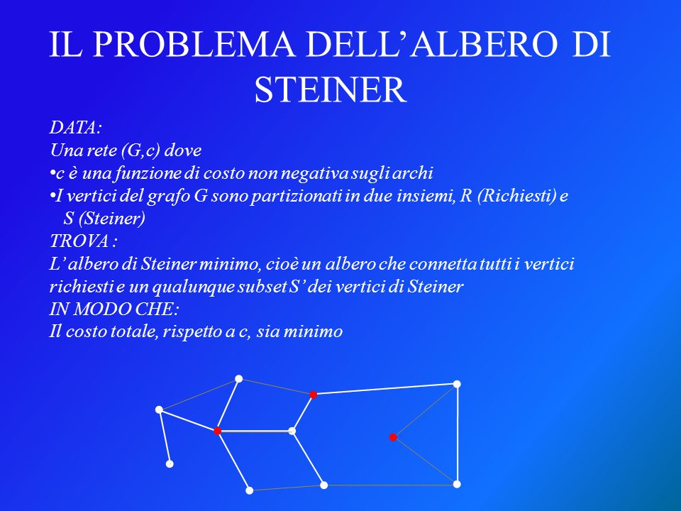 Un problema di Steiner per un grafo completo nel quale i costi rispettano la disuguaglianza triangolare, i.e., per ogni tripletta di vertici del grafo i, j e k, si ha Senza perdere in generalità, possiamo restringerci a studiare i problemi di Steiner metrici DEF: Problema di Steiner metrico c(i,j) ≤ c (i,k) + c(k,j), è detto metrico.