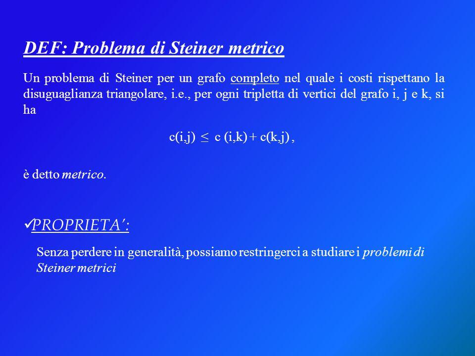  c G' OPT ≤ c G OPT Lemma C'è una trasformazione, in tempo polinomiale, da un'istanza del problema dell'albero di Steiner I per il grafo G(V,E) a un'istanza I' del problema dell'albero di Steiner metrico per G' che preserva il costo della soluzione ottima.