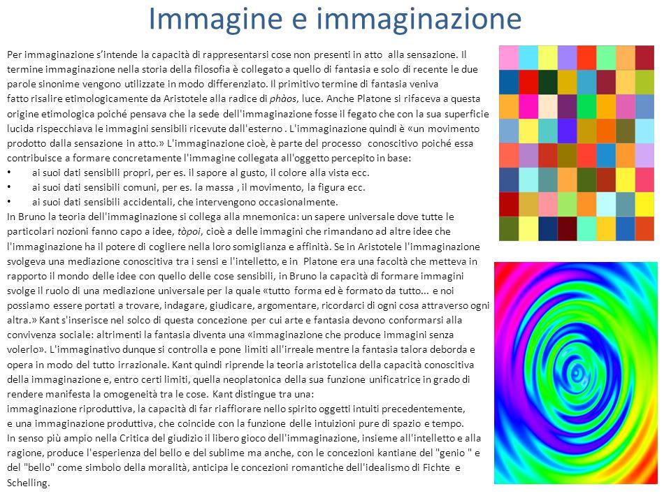 Immagine e immaginazione Per immaginazione s'intende la capacità di rappresentarsi cose non presenti in atto alla sensazione.