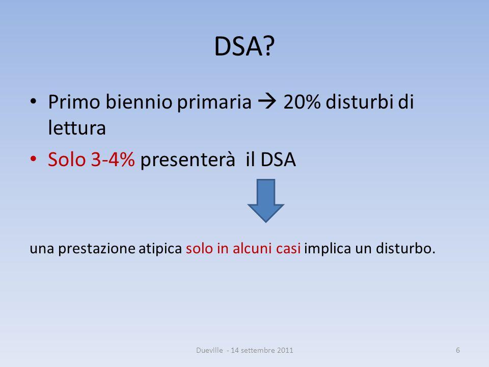DSA? Primo biennio primaria  20% disturbi di lettura Solo 3-4% presenterà il DSA una prestazione atipica solo in alcuni casi implica un disturbo. 6Du