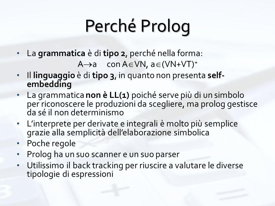 Perché Prolog La grammatica è di tipo 2, perché nella forma: A  a con A  VN, a  (VN+VT) + Il linguaggio è di tipo 3, in quanto non presenta self- embedding La grammatica non è LL(1) poiché serve più di un simbolo per riconoscere le produzioni da scegliere, ma prolog gestisce da sé il non determinismo L'interprete per derivate e integrali è molto più semplice grazie alla semplicità dell'elaborazione simbolica Poche regole Prolog ha un suo scanner e un suo parser Utilissimo il back tracking per riuscire a valutare le diverse tipologie di espressioni