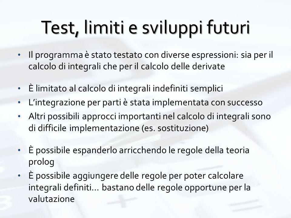 Test, limiti e sviluppi futuri Il programma è stato testato con diverse espressioni: sia per il calcolo di integrali che per il calcolo delle derivate