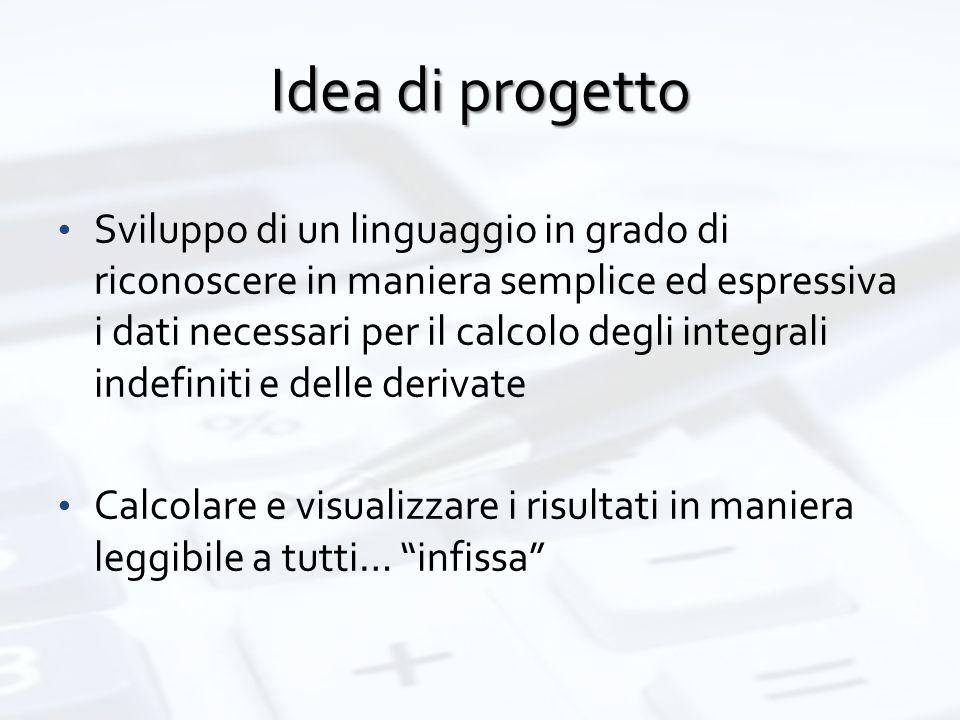 Idea di progetto Sviluppo di un linguaggio in grado di riconoscere in maniera semplice ed espressiva i dati necessari per il calcolo degli integrali i