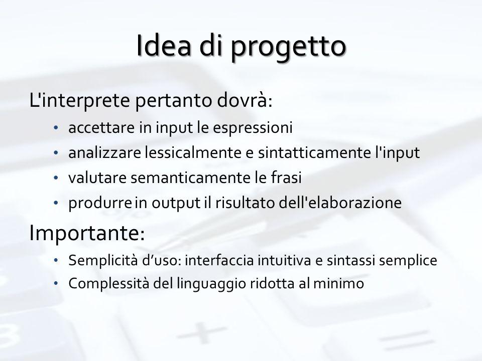 Idea di progetto L'interprete pertanto dovrà: accettare in input le espressioni analizzare lessicalmente e sintatticamente l'input valutare semanticam
