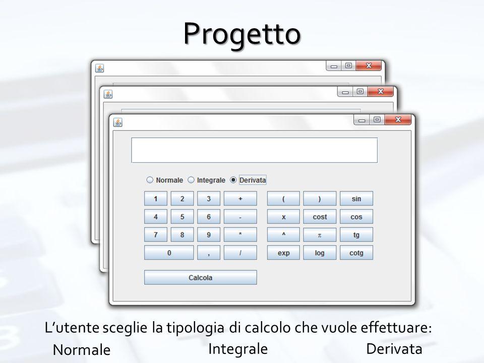 Progetto L'utente sceglie la tipologia di calcolo che vuole effettuare: Normale IntegraleDerivata