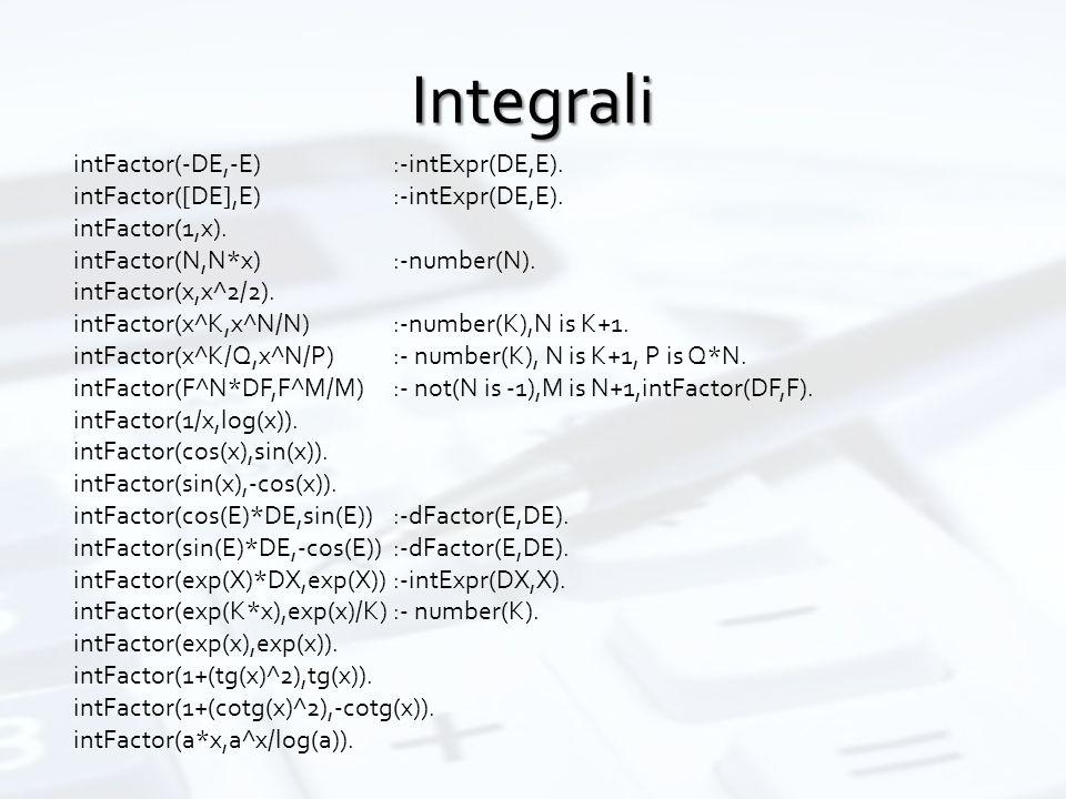 Integrali intFactor(-DE,-E):-intExpr(DE,E). intFactor([DE],E):-intExpr(DE,E). intFactor(1,x). intFactor(N,N*x):-number(N). intFactor(x,x^2/2). intFact