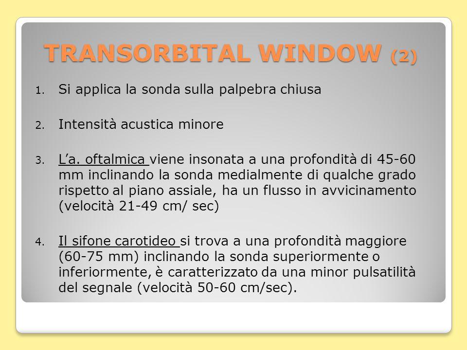 TRANSORBITAL WINDOW (2) 1. Si applica la sonda sulla palpebra chiusa 2.