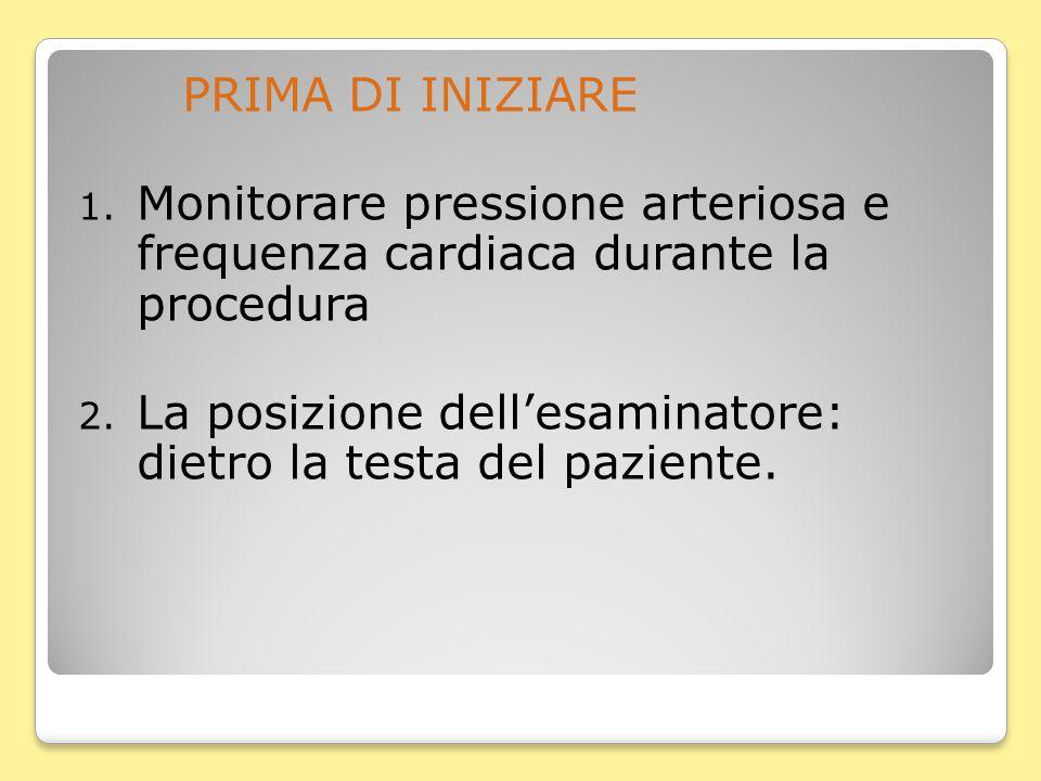 PRIMA DI INIZIARE 1. Monitorare pressione arteriosa e frequenza cardiaca durante la procedura 2.