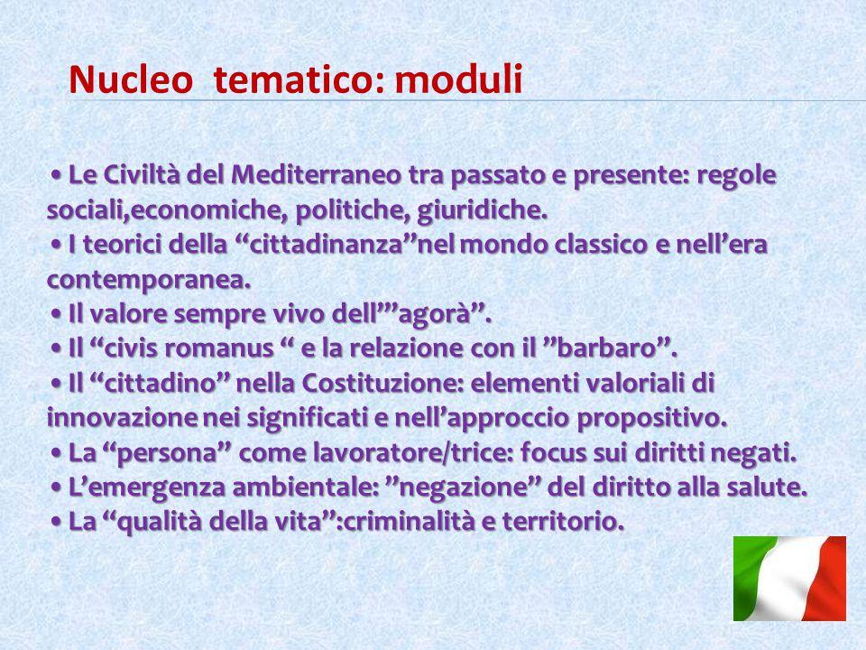 Nucleo tematico: moduli Le Civiltà del Mediterraneo tra passato e presente: regole sociali,economiche, politiche, giuridiche.Le Civiltà del Mediterraneo tra passato e presente: regole sociali,economiche, politiche, giuridiche.