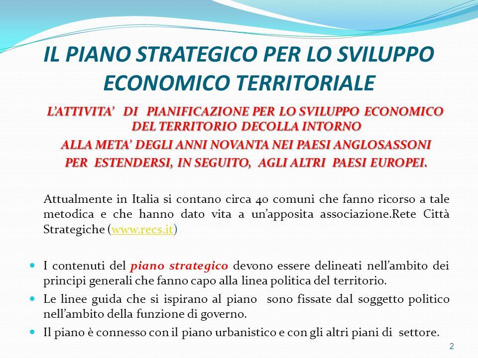 IL PIANO STRATEGICO PER LO SVILUPPO ECONOMICO TERRITORIALE L'ATTIVITA' DI PIANIFICAZIONE PER LO SVILUPPO ECONOMICO DEL TERRITORIO DECOLLA INTORNO ALLA