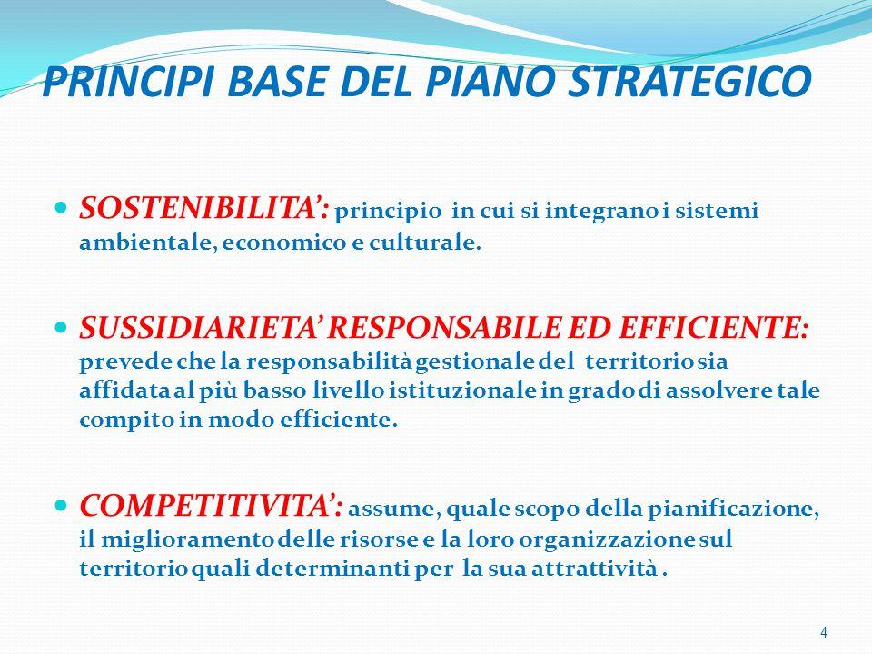PRINCIPI BASE DEL PIANO STRATEGICO SOSTENIBILITA': principio in cui si integrano i sistemi ambientale, economico e culturale. SUSSIDIARIETA' RESPONSAB