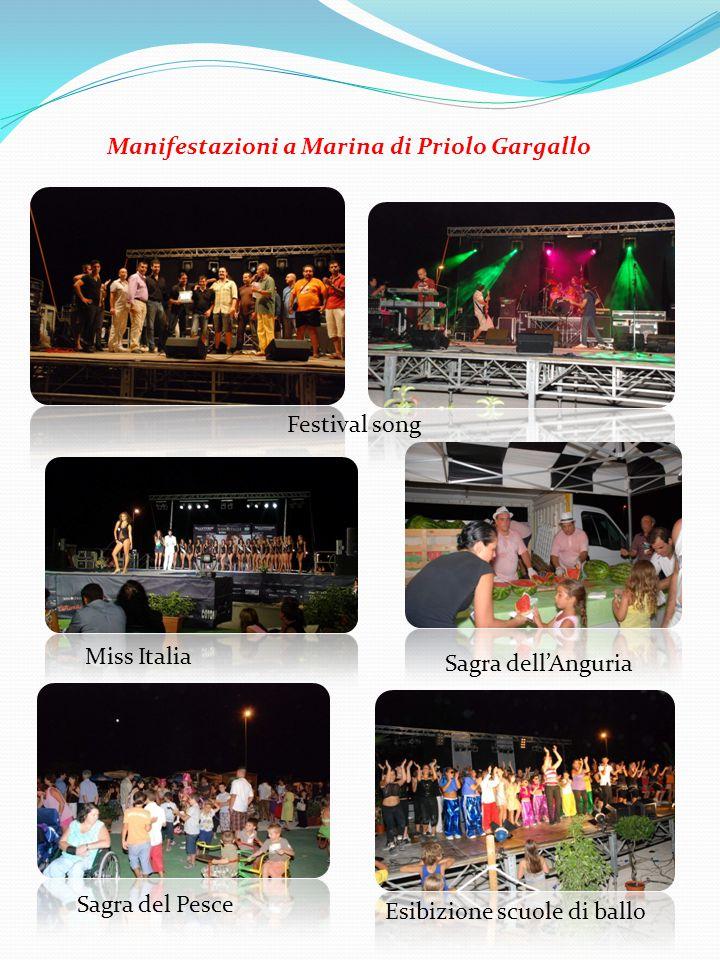 Festival song Miss Italia Sagra dell'Anguria Sagra del Pesce Esibizione scuole di ballo Manifestazioni a Marina di Priolo Gargallo