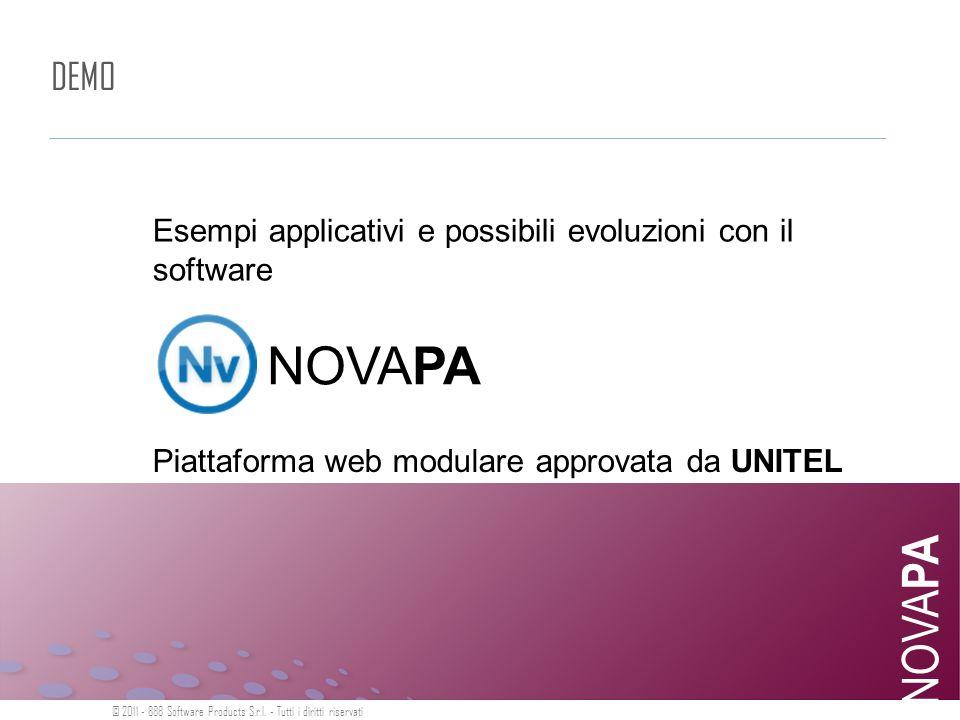 DEMO NOVA PA Esempi applicativi e possibili evoluzioni con il software © 2011 - 888 Software Products S.r.l. - Tutti i diritti riservati NOVAPA Piatta