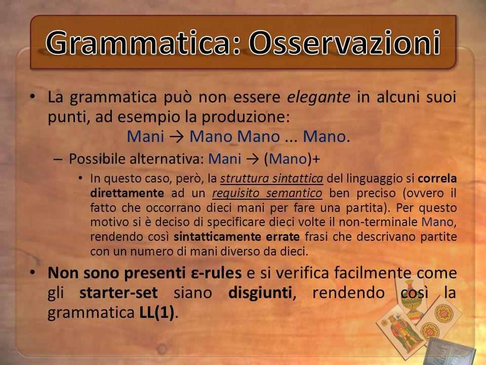La grammatica può non essere elegante in alcuni suoi punti, ad esempio la produzione: Mani → Mano Mano... Mano. – Possibile alternativa: Mani → (Mano)
