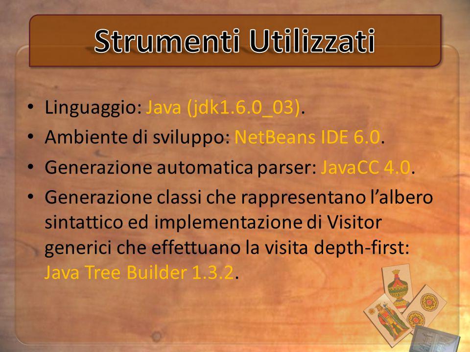 Linguaggio: Java (jdk1.6.0_03). Ambiente di sviluppo: NetBeans IDE 6.0.