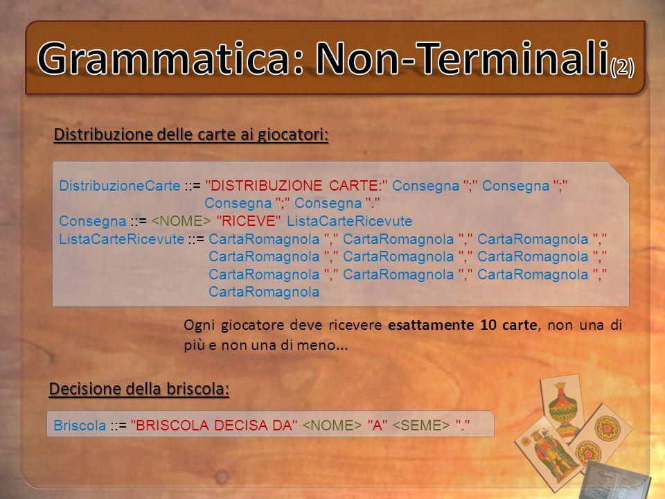 Distribuzione delle carte ai giocatori: DistribuzioneCarte ::=