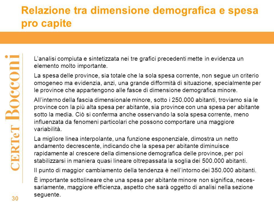 CERTeT Relazione tra dimensione demografica e spesa pro capite 30 L'analisi compiuta e sintetizzata nei tre grafici precedenti mette in evidenza un elemento molto importante.